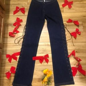 Forever 21 Stretch Side Tie-Up Jeans